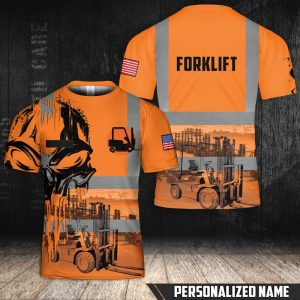 Personalized custom name Forklift 3d all over printed shirt