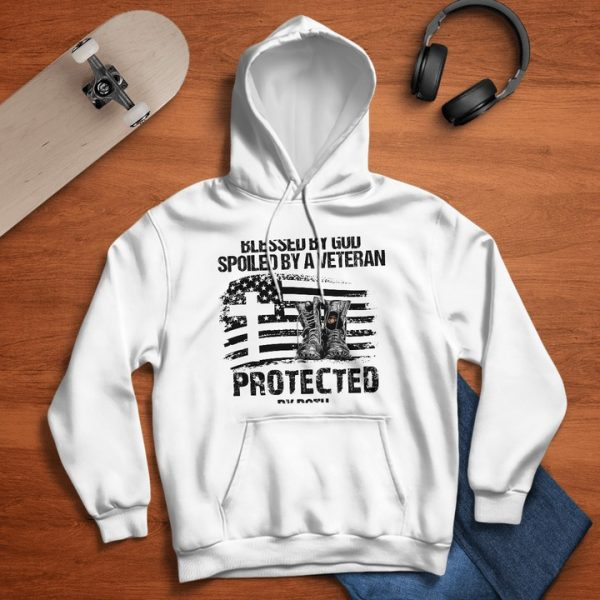 US marine blessed by god spoiled by a veteran protected by both hoodie